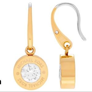 Michael Kors Logo Crystals Centers Dangle Earrings